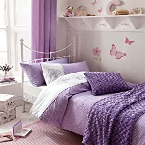 Catherine Lansfield Kids Flutterbye Single Bed Quiltset, Lilac