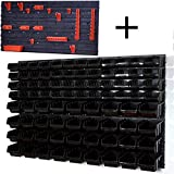 Lager Wandregal Lagerregal, 48 Stapelboxen Schwarze Gr. 2 POP Serie, 36 Stapelboxen Schwarze Gr. 3 und 8 Wandplatten + Haken