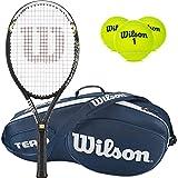 Wilson Hyper Hammer 5.3besaitet Schläger, Gebündelt mit Einer Tennis Tasche, 3-Pack - Blue Team III, 4 1/8