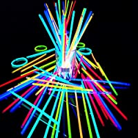 Total Gift 50 Glow Sticks in Mixed Colours GLOW IN DARK Bracelets PARTY SUPPLIES