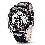Time100 relojes de hombres mecánicos automáticos huecos multifuncionales con luna y sol