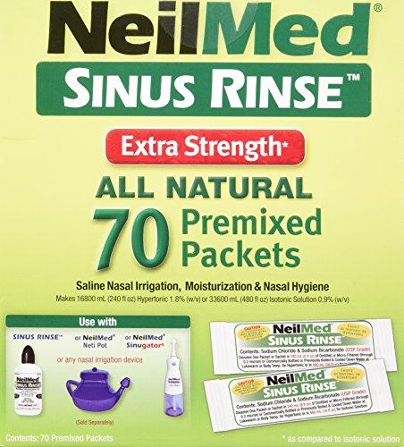NeilMed's Sinus Rinse Extra Strength Pre-Mixed Hypertonic Packets, 70-Count Boxes (Pack of 2) - Neilmed Sinus Rinse Kit