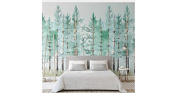 Lifme Benutzerdefinierte Wandbild Moderne Mode Mintgrün Frische Wald Vlies 3d Tapete Schlafzimmer Wohnzimmer Home Hintergrund Dekoration Fresko 200x140cm Baumarkt