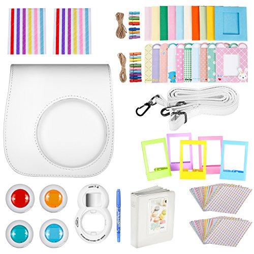 Neewer 10-en-1 Kit d'Accessoires Blanc pour Fujifilm Instax Mini 9 8+ 8 8s: Housse de Caméra/ Album/ Objectif de Selfie / 4x Filtre de Couleur/ 5x Cad...