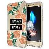 NALIA Handyhülle für Huawei P8 Lite 2017, Slim Silikon Motiv Case Crystal Schutz-Hülle Dünn Durchsichtig Etui Handy-Tasche Back-Cover Transparent Bumper für P8Lite-17, Designs:Always Happy