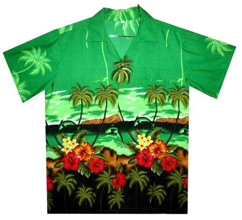 Funky Hawaiihemd, Delphin, grün, 4XL