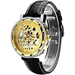 "Men's Winner *Hot Sell* 2013* Stainless Steel Transparent ""Steampunk"" Gold Dial, Skeleton Mechanical Self-wind Automatic, Black Leather Strap Wrist Watch - Free UK Delivery + Gift Box Included!"