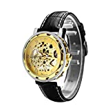 Winner T037 - Reloj para hombres, correa de cuero color negro