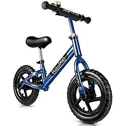 KidoMe 12'' Bici sin Pedales Color Bicicleta de Blalance Equilibrio Altura Ajustable Acero al Carbono Inoxidable Regalo para Niño de 2-6 años Neumáticos sin Necesidad de Inflarse (Rojo) (Azul)