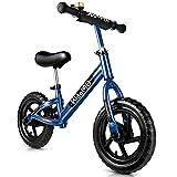 KidoMe 12'' Draisienne Vélo Enfant Bleu d'équilibre sans Pédale Cadeaux pour Les Enfants de 2-6 Ans Haute Cadre en Acier au Carbone Réglable Seat Capacité de 50kg (Bleu)