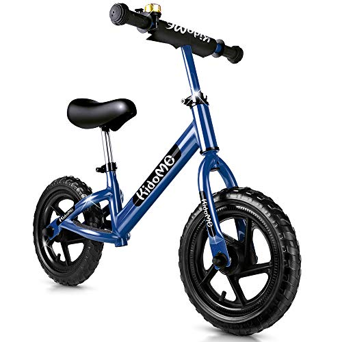 """KidoMe 12"""" Bicicletta da Equilibrio Blu Prima Bici Senza Pedale Regalo per Bambini Acciaio al Carbonio Pneumatici Senza necessità di gonfiarsi Sella e Manubrio Regolabile 2, 3, 4 ,5 e 6 Anni"""
