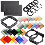 QKOO Camera Lens Filters Kit: Complete 24 Piece Square Color Filters Set +9pcs Adapter Rings +Wide Angle Holder +Filter Holder +Square Lens Hood +Cases for DSLR Cameras for Cokin P Series