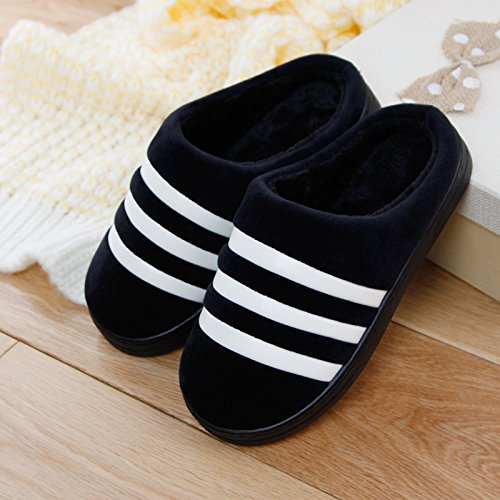 DogHaccd pantofole,Inverno paio di pantofole di cotone pantofole gli uomini e le donne a rimanere a casa per riscaldare antiscivolo peluche spesse pantofole Nero3