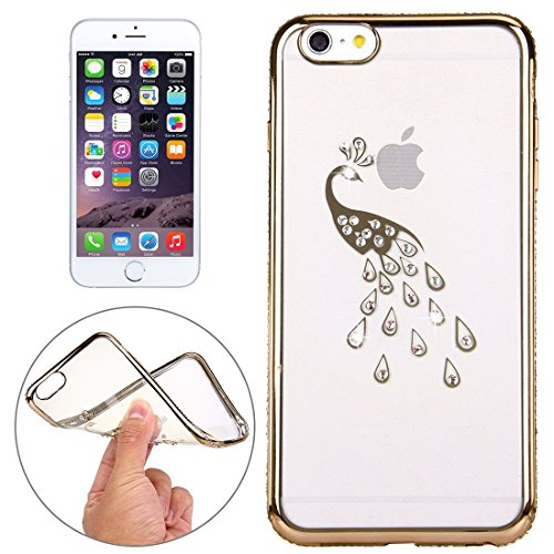 Phone case & Hülle Für iPhone 6 Plus / 6s Plus, Diamond verkrustet Peacock Pattern Galvanisieren Rahmen TPU Schutzhülle ( Color : Rose Gold ) Gold