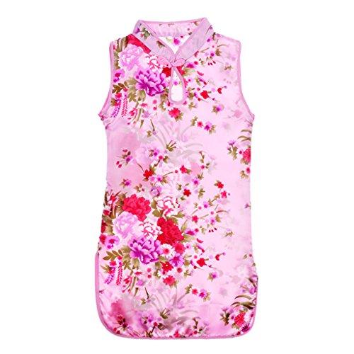 Qipao Cheongsam Geisha Kostüm Chinesisches Kleid Sommer Mini Kleid - Rosa, 75cm (Geisha Mädchen Rosa Kostüme)