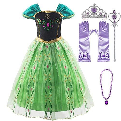 Funnycokid Baby Mädchen Prinzessin Kleider Shinny Big Swing Gefrorene Königin Cospaly Kostüms mit Zubehör (Baby Gefrorenen Kleid)