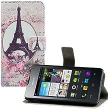 kwmobile Funda chic de cuero sintético para el Huawei Ascend Y300 con una práctica función de soporte - ¡Diseño Torre Eiffel rosas en rosa claro blanco beige!