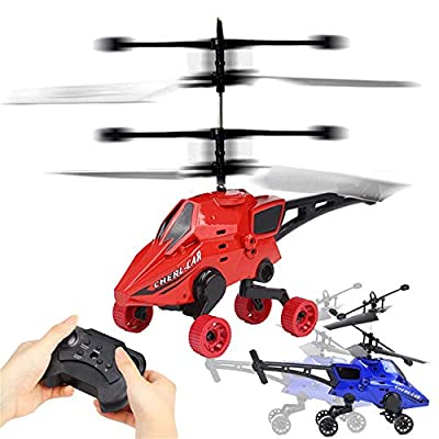 Rcool Mini Flying RC Car Helicopter Infrared Induction Remote Control Air-Ground Aircraft 2CH Gyro RC Drone Flying Sport Game Toy for Kids and Adults