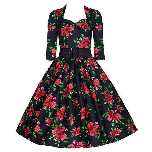 Pretty Kitty Fashion Long Sleeve Red Rose Swing Dress