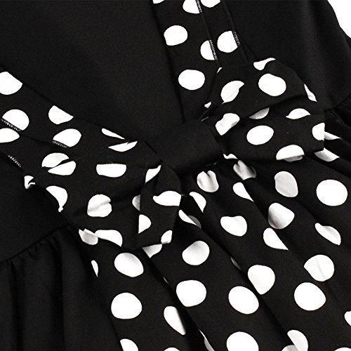 iPretty Retro Kleid Damen tief V-Rückenfrei Kleid 1950er Rockabilly Faltenrock Sexy Abendkleider Polka Dots Kleid Cocktailkleider Knielang Partykleid Schwarz