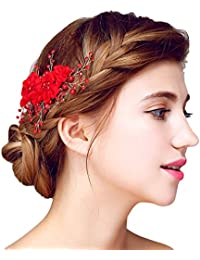 f06246d6e9c7 YAZILIND Tocado Belleza de la Mujer Nupcial de la Boda Peine Barrette  Fiesta Rhinestones Flores de aleación de Pelo…