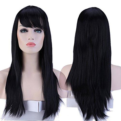 haar Damen Lang Haar Perücken Mode Glatt Perücke Täglich Cosplay Partei Party Kostüm Wig - dunkelschwarz ()