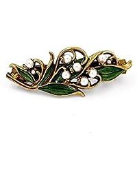 Collares de pelo cristalinos de la joyería de la vendimia Barrette del pelo del lirio del valle, accesorios del pelo, barrette de la perla, barrette Wedding, accesorios nupciales