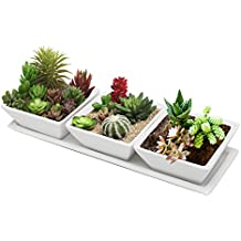 MyGift Set di 3decorativo bianco Moderno Quadrato fiori, piante vasi/Display piatti con vassoio
