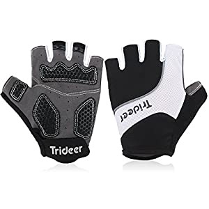 Half Finger Cycling Gloves Biking Gloves Gym Gloves Mountain Bike Gloves, Fitness Bodybuilding Exercise Gloves for Sports - TRIDEER Breathable Microfiber Lycra Material and Silica Gel Grip Anti-slip Glove for Road Racing Bicycle, for Men, Women, Ladies, F