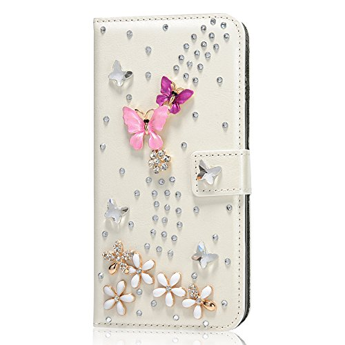 Mavis's Diary iPhone 6 Plus/6s Plus(5,5 Zoll) Hüllen Lila Rosa Schmetterling Handgefertigt Kunstledertasche Flip Case Kartenfach Tasche Schutzhülle Scratch Multifunktion Schnalle Magnetverschluss Tele Weiß Hintergrund