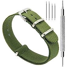 CIVO Correa de Reloj Nato Balística Premium Nylon Correas de Reloj Hebilla de Acero Inoxidable con la Herramienta Superior de Barra de Resorte y 4 Barras de Resorte de Bonificación Bandas 18mm 20mm 22mm (Army Green, 18mm)
