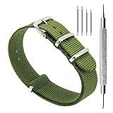 CIVO Armbanduhr BANDS NATO Premium Ballistic Nylon Uhrenarmband Edelstahl Schnalle 18 mm 20 mm 22 mm mit Top SPRING BAR Werkzeug und 4 Spring Bars Bonus (Army Green, 20mm)