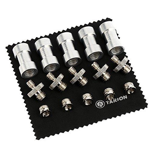 TARION® Gewindeadapter-Set 15-teilig 1/4 auf 3/8 Spigot-Adapter Adapterschraube (1/4 auf 3/8) und Reduzierstücke für Blitzhalter Studio-Leuchten, Lampen-Stativ mit Reinigungstuch
