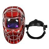 Mascara de soldador - TOOGOO(R) Mascara de soldador profesional Casco de soldadura de oscurecimiento automatico solar, Telarana roja