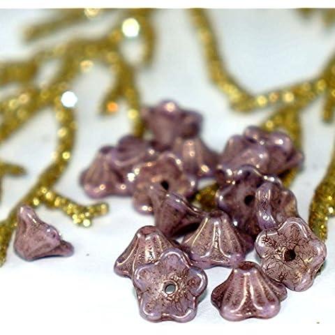 Picasso de color Púrpura Oscuro Pequeña Campana de Flores checa Granos de la Flor de Tapas de Púrpura checa Campana de la Flor de las Perlas de Vidrio Pequeño de la Flor de las Perlas de 7 mm x 4 mm 20pcs