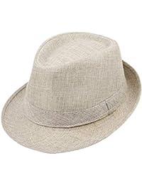 Pingrog Sombrero De Paja Sombrero Panamá De Gángster con De Sombrero Estilo  único Sombrero para El Sol con Cinta De Tela Moda… 7b2582531857