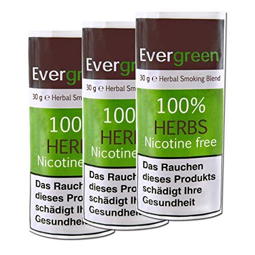 3 X Bio Kräuter Natur Räuchermischung 100% frei von Nikotin und Tabak, reichhaltig, aromatisch, feines Aroma und angenehmer, weicher Geschmack, 3 PACK Evergreen Tabakersatz 90g total -
