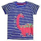 Tarkis Kinder T-shirt Baumwolle Streifen Feuer Cartoon Auto Muster Jungen Mädchen Kurzarm Oberteil Pullover Größe (98, Blauer Dinosaurier)