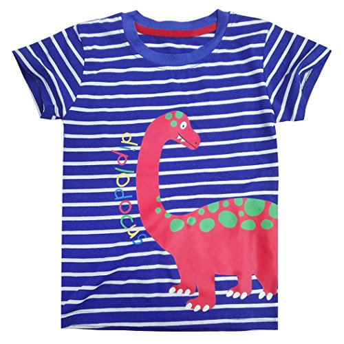 Jungen Kurzarm-dinosaurier (Tarkis Kinder T-shirt Baumwolle Streifen Feuer Cartoon Auto Muster Jungen Mädchen Kurzarm Oberteil Pullover Größe (110, Blauer Dinosaurier))