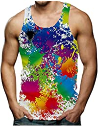 34322c558835fa Spreadhoodie Mens Tank Tops 3D Printed Sleeveless T-Shirts Vest for Holiday  Trips Swimming Baths