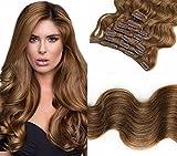 SHINING STYLE Body Wave Clip In Extensions Echthaar Gewellt Haarverlängerung Set - 8 Haarteile - 120g - 40 cm Haarlänge - Haarfarbe: Hellbraun