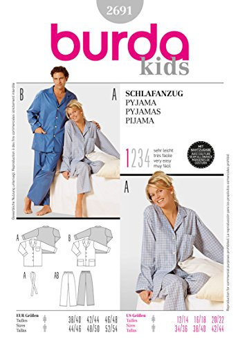 Burda 2691 Schnittmuster Schlafanzug (Damen & Herren, Gr. 38-48/44-54) - Level 1 super Easy