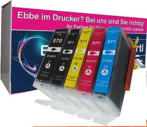 5x compatible Cartouches d'encre avec puce pour Canon CLI-571XL PGI-570XL pour Canon Pixma MG 5750 5751 5752 5753 6850 6851 6852 6853 7750 7751 7752 7753 7752 7753