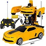 IVNGRI Voiture télécommandée Transformers Robot pour Enfants Transformed Car Toy (Color : Yellow)