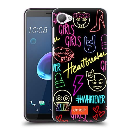 Offizielle Emoji® Maedchen Neon Harte Rueckseiten Huelle kompatibel mit HTC Desire 12