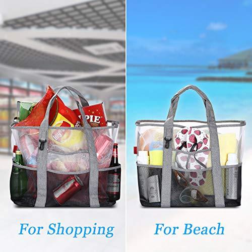 Imagen para YOOFAN Bolsa de la Playa-Bolsa Grande de Malla de Playa-Gran Mercado Ligero para Almacenamiento Juguetes Lavable y Transpirable, para la Playa, Natación, Camping, Gimnasio