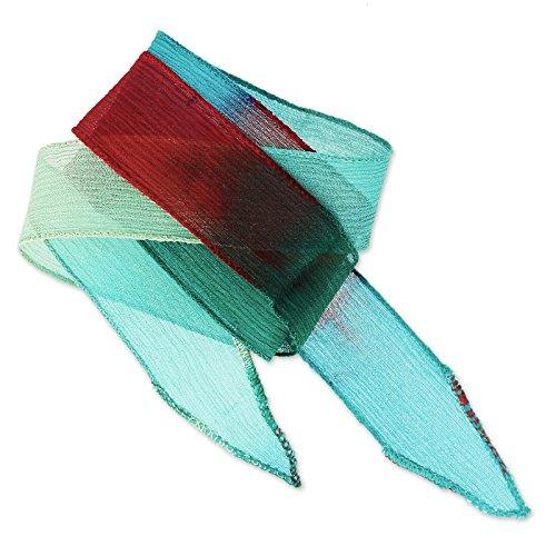 Seiden Schrägband 25mm Tie and Dye Meadow Bordeaux/Green Turq/Mint x85 (Seiden SchrÄgband)