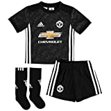Manchester United 17/18 Away Mini Kids Replica Football Kit - Black/White/Granite