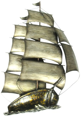 Marvells 's Segeln Schiff mit Zwei Mast Art Wand, Metall, Bronze, 36x 5x 57cm