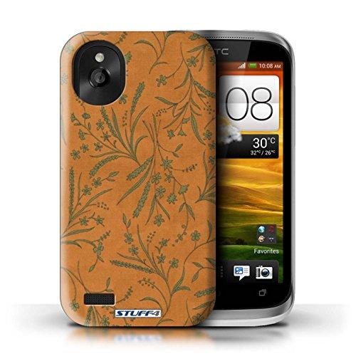 Kobalt® Imprimé Etui / Coque pour HTC Desire X / Vert/Bleu conception / Série Motif floral blé Orange/Vert